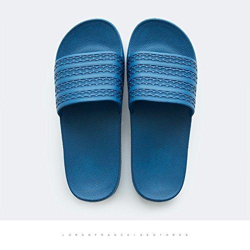 DogHaccd Zapatillas,Inicio baño baño zapatillas de verano parejas femeninas interior anti-deslizante de plástico inicio cool zapatillas macho Azul oscuro3
