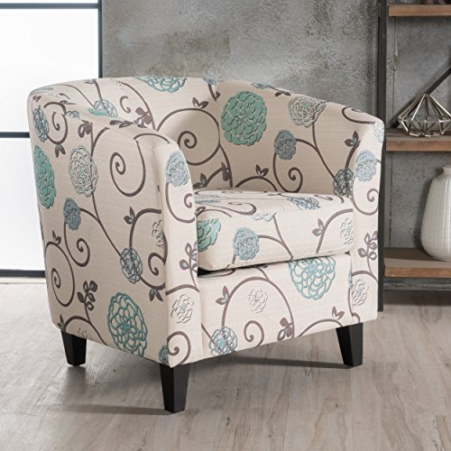 Christopher Knight Home 300399 Preston Arm Chair White/Blue