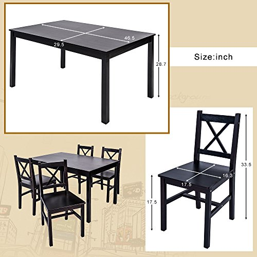 merax 5 pc solid wood dining set 4 person table and chairs dark espresso furniture tables. Black Bedroom Furniture Sets. Home Design Ideas
