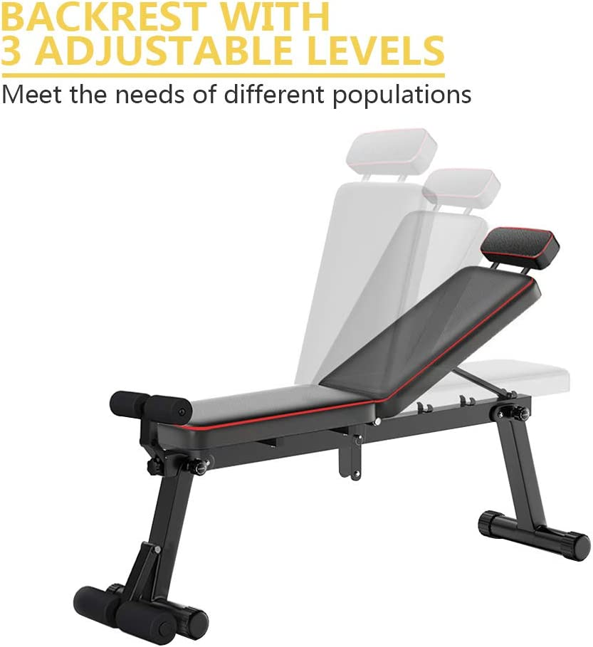 Home Training Gym Weight Lifting /& Sit Up Bench Flat Incline Decline Multiuse Workout Bench ZEHNHASE Adjustable Weight Bench Folding Weight Bench Dumbbell Bench