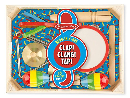 Costumes Broadway Musicals - Melissa & Doug Band-in-a-Box Clap! Clang! Tap! - 10-Piece Musical Instrument Set