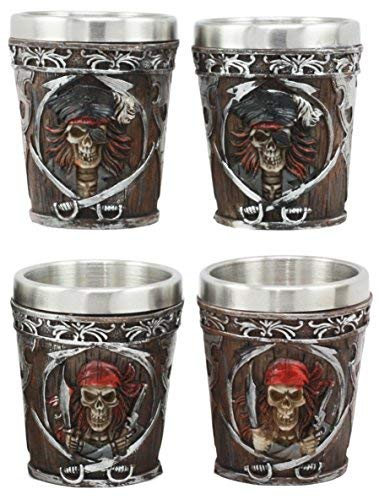 Ebros Myths Legends And Fantasy Spirit Themed 2-Ounce Shot Glasses Set Of 4 Resin Housing With Stainless Steel Liners Great Souvenir And Party Hosting Idea (Pirate Captain And Buccaneer Skeletons) ()