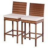 TANGKULA Set of 2 Patio Outdoor Wicker Barstool Pool Furniture (without arm)