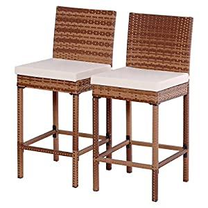 Tangkula Set Of 2 Patio Rattan Bar Stool Chair Steel Frame Wicker Barstool with Cushions  sc 1 st  Amazon.com & Amazon.com: Tangkula Set Of 2 Patio Rattan Bar Stool Chair Steel ... islam-shia.org