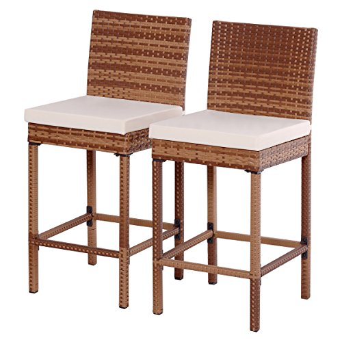 2 pcs of Patio Bar Stool Chair with Cushions Steel Frame Rattan Wicker Brown (Chair Wicker Base)