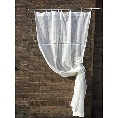 Lodge Pocket Rod Drapes (Custom Sheer Bedroom Curtain Handmade Linen Panel White Ivory Natural)