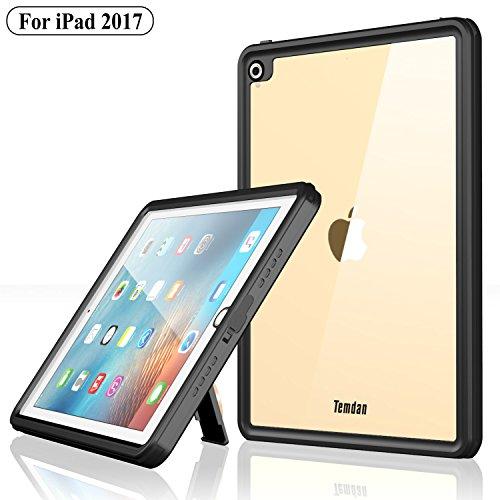 Temdan iPad 2017 Waterproof Case Rugged Sleek Transparent Cover with Built in Screen Protector Waterproof Case for Apple iPad 2017 9.7 inch (Black)
