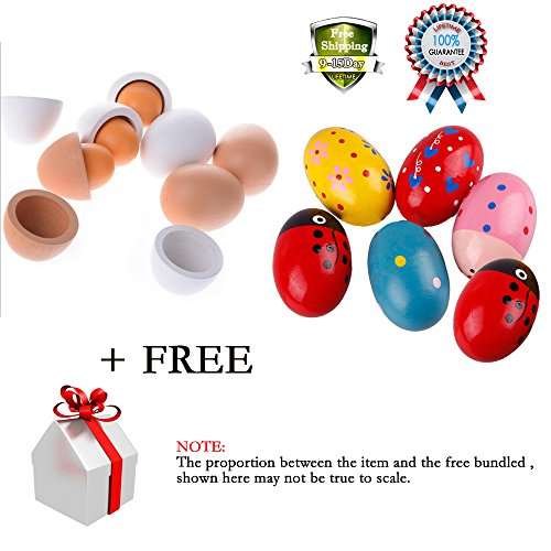 Baby Wooden Easter Eggs Yolk Pretend Play Kitchen Game Cook Food Kids Children Toy Music Shaker Instrument Percussion Rattle Maracas Musicial 11 Pcs with 2 pcs Free Gift - Best Homemade Costumes