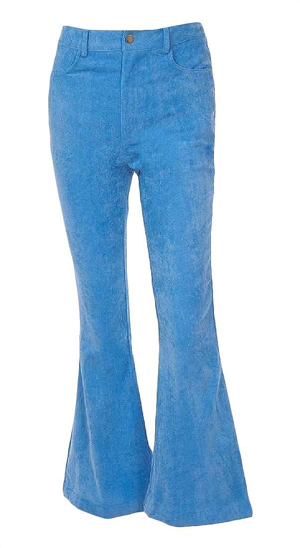 Macondoo Women Slim Corduroy Trousers Casual Bell Bottom Pants
