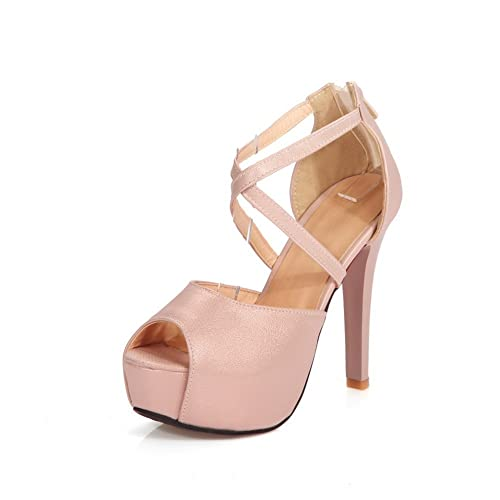 ff8ad28f87ca8 AdeeSu Womens Pumps-Shoes Peep-Toe Zip Ankle-Strap Spikes Stilettos Cold  Lining