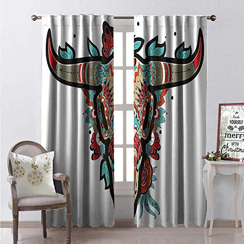 Hengshu Western Window Curtain Drape Buffalo Sugar Mexican Skull Colorful Ornate Design Horned Animal Trophy Customized Curtains W120 x L108 Turquoise Orange Taupe