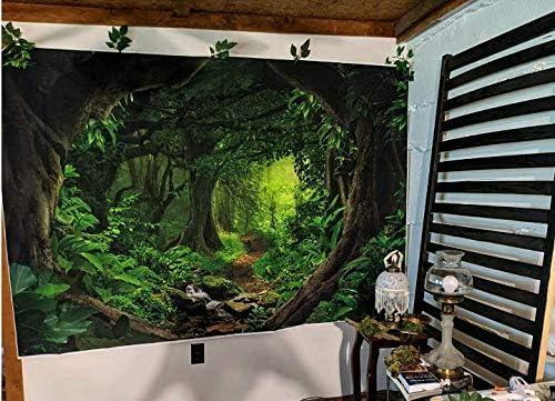 Wrinkle Resistance EARVO 7x5ft Jungle Backdrop Treasure Monkey Leaves Photography Background Fairytale Party Polyester Backdrop Studio Photo Props EADS165