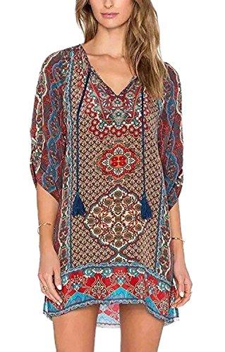 Laite Hebe Women Bohemian Neck Tie Vintage Printed Ethnic Style