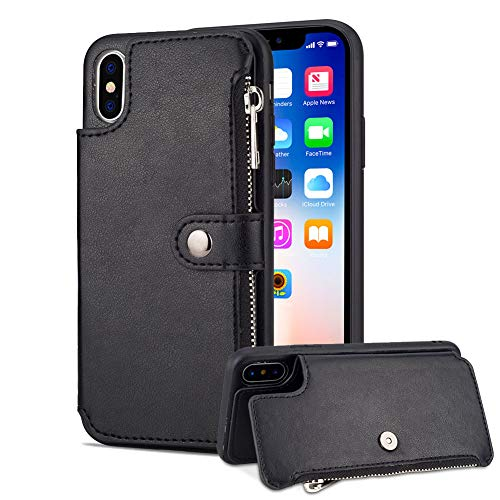 - Aearl iPhone XS Max Zipper Wallet Case,iPhone XS Max Leather Case with Card Holder,Flip Folio Credit Card Slot Magnetic Detachable Buckle Wallet Case for Women Men-Black(iPhone XS Max 6.5 inch 2018)