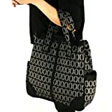 Plaid Large Handbag Tote Shoulder Body Bag Zipper Black with Gray, Bags Central