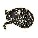 10K Gold Color Cute Sleepy Lazy cat Pin and Brooch (Gold)