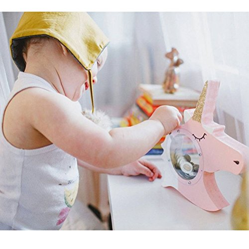 Unicorn Gifts Coin Bank Toy Money Box for Girls Wooden Decor