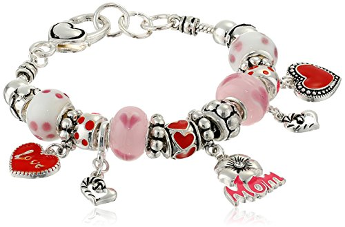 Love You Mom Hearts and Flowers Charm Bracelet, 7.5