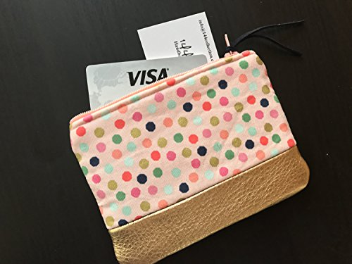 Pink Polka Dot Gold Leather Coin Purse, Leather Pouch, Change Wallet