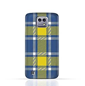 LG X cam TPU Silicone Case with Blue and Yellow Plaid Fabric Design