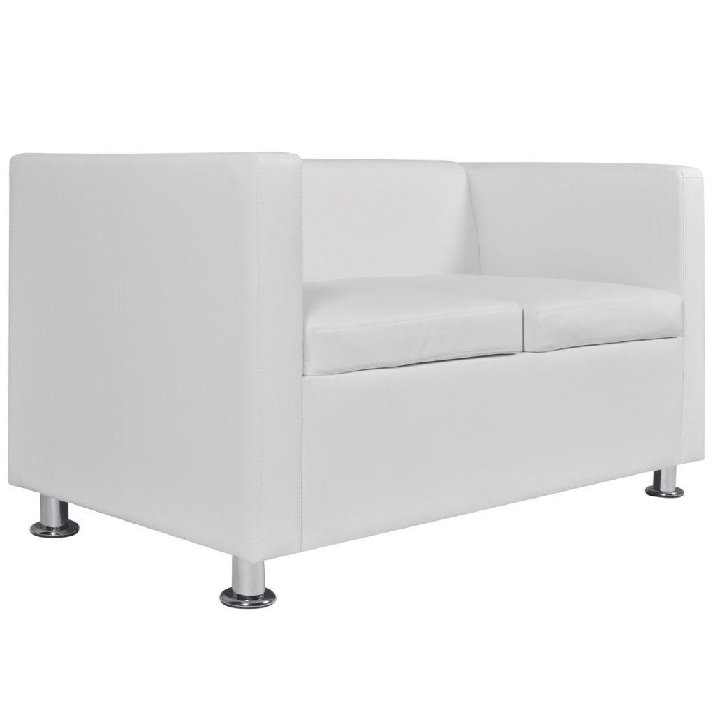 Festnight 2-Sitzer Sofa Kunstledersofa Kunstledersofa Kunstledersofa Loungesofa Rüchenlehne Couch mit 2 Kissen Sitzkomfort Schwarz 92d975