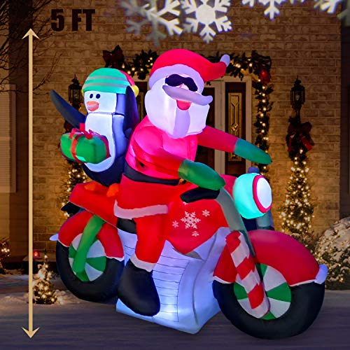 SEASONBLOW 5 Ft LED Light Up Inflatable Christmas Santa Claus Riding Motorcycle Carrying a Penguin Decoration for Yard Lawn Garden Home Party Indoor Outdoor from SEASONBLOW