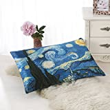 ALASKA BEAR Natural Silk Pillowcase, Hypoallergenic, 19 momme, 600 thread count 100 percent Mulberry Silk, King Size with hidden zipper, Custom Painting Pillow Case for Room Décor(1, Starry Night)