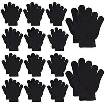 MENOLY 14 Pairs Winter kids Gloves Kids Knit Gloves Warm Stretchy Knitted Magic Gloves Full Fingers Gloves for Little Girls Boys Teens, Black
