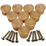 KINGSO 10pcs 25mm Natural Wood Wooden Cabinet Knob Drawer Wardrobe Door Pull Handle Hardware Plain