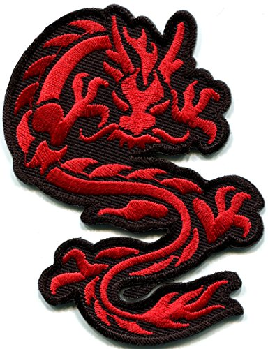 Chinese dragon red kung fu martial arts biker tattoo embr...