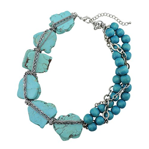 BOCAR Personalized Big Statement Turquoise Chunky Collar Chain Necklace for Women Gifts(NK-10271-turquoise+blue)