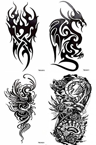 4 Sheets Black Large Temporary Tattoo Men Women Tribal Totem Black Ink Henna Beach Arm Chest Back Dragon -