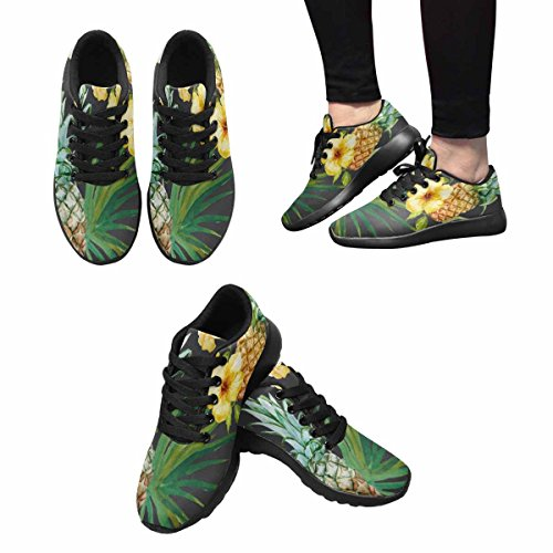 Interestprint Mujeres Casual Deportes Suaves Carretera Correr Zapatos Para Caminar Tropical Pattern, Pineapple, Hibiscus Multi 1