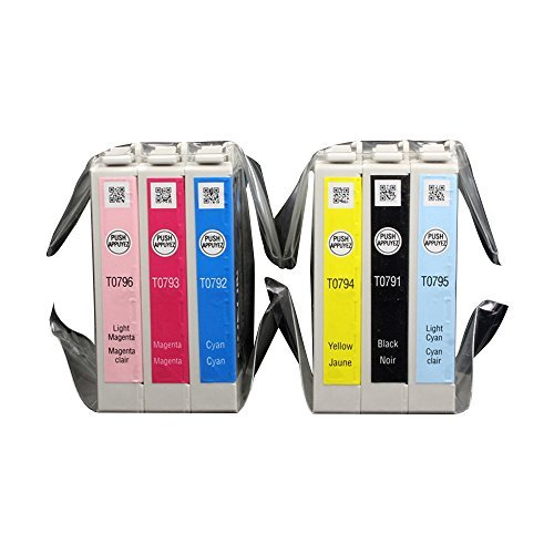 Colorful 79 (T079120 T079220 T079320 T079420 T079520 T079620) 6 Pack Ink Cartridges for e 1400 and Artisan 1430 (Ink Tank Light)