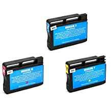 3 Pack SaveOnMany ® HP 933XL (933 XL / hp933xl) C/M/Y Cyan Magenta Yellow Remanufactured Compatible (CN054AN CN055AN CN056AN) High-Yield Ink Cartridge For HP Officejet 6100, 6600, 7610, 6700 Premium, 7110 Wide Format ePrinter - H812a, 7612 Wide Format e-All-in-One (G1X85A) ~ 825 Pages Yield