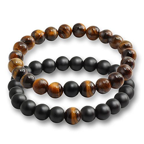 Wall of Dragon Hot Sale New Black Stone Tiger Eye Beads Charms Bracelets for Women Men Nature Stone Distance Bracelet Yoga Jewelry Lovers Gift