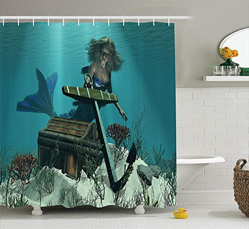 (luckyhome Mermaid Decor Shower Curtain Set, A Mermaid in The Ocean Sea Discovering Pirate's Treasure Chest Mythical Art Print, Bathroom Accessories, 60X72in, Azure Brown)