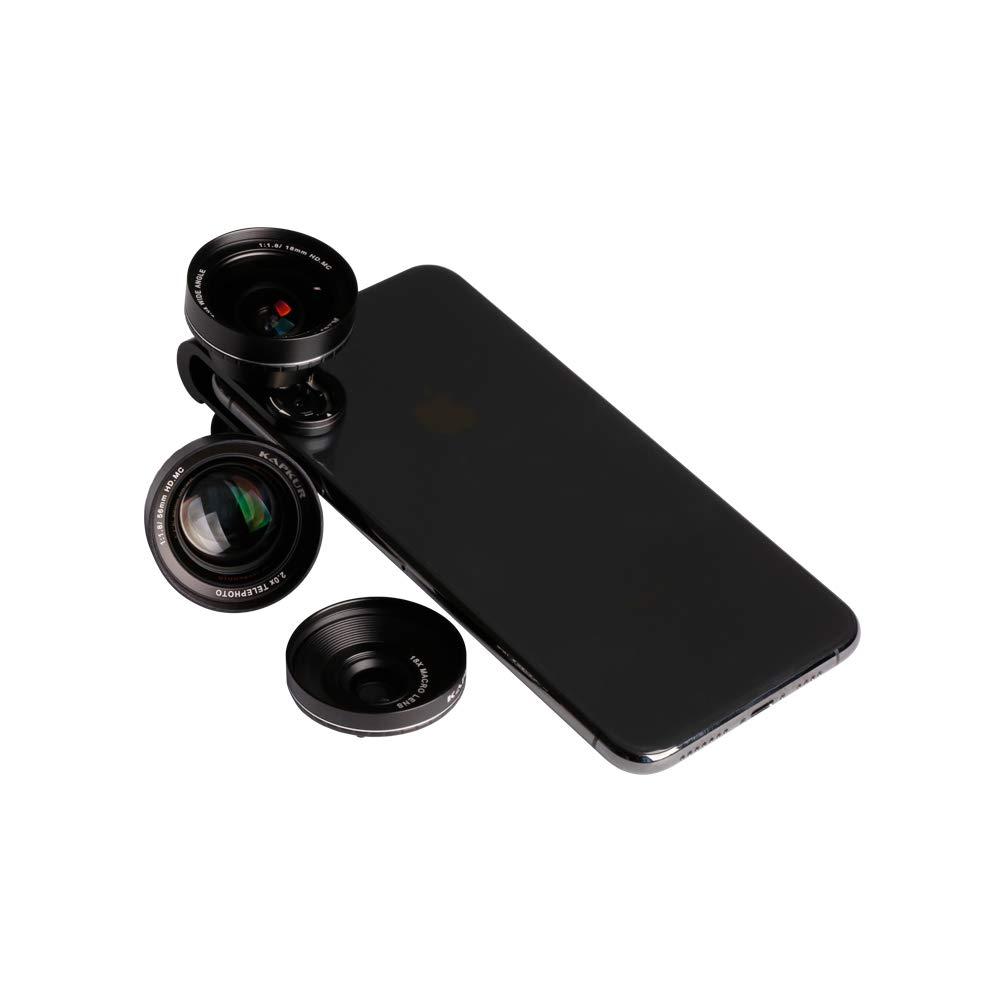 Kapkur Clip- on 3 in 1 Kits (2X telephoto, 0.6X Wide Angle, 10x Macro)
