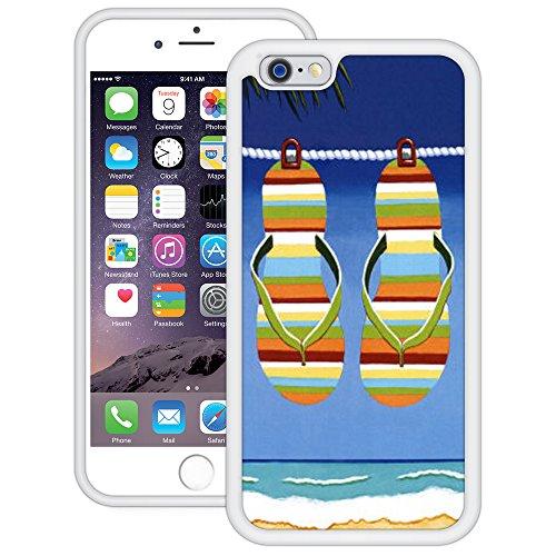 Flip Flops Spaß | Handgefertigt | iPhone 6 6s (4,7') | Weiß TPU Hülle