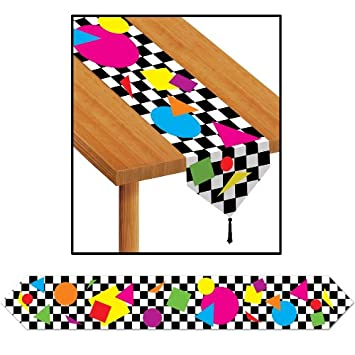 Printed Party Shapes Table Runner - 80's Party Decoration