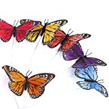 Factory Direct Craft Group of 6 Vibrant Colored Artificial Monarch Butterflies on Pick for Crafting, Creating and Embellishing
