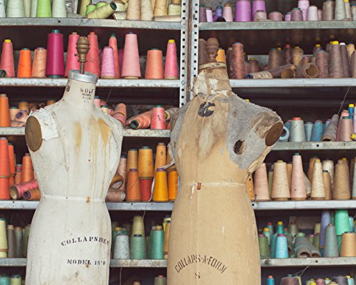 Abandoned Urban Decay Photography Colorful Rainbow Spools of Thread and Vintage Antique Dress Form Mannequins Urbex Photograph Art Print