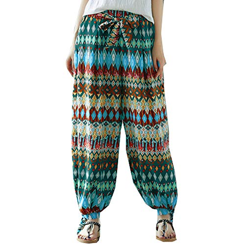 (Sunmoot Plus Size Yoga Pants for Womens Summer Casual Loose Boho Print Baggy Elastic Waist Harem Ankle-Length Trousers Green)