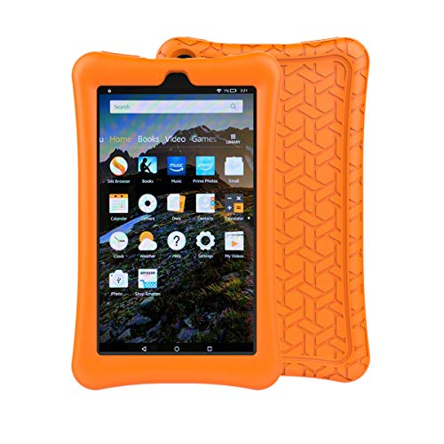 LTROP Tablet Case for All-New Fire 7 - Light Weight Shock Proof Soft Silicone Honey Comb Kids Friendly Case for All New Fire 7 Tablet (7th Generation, 2017 Release),Orange