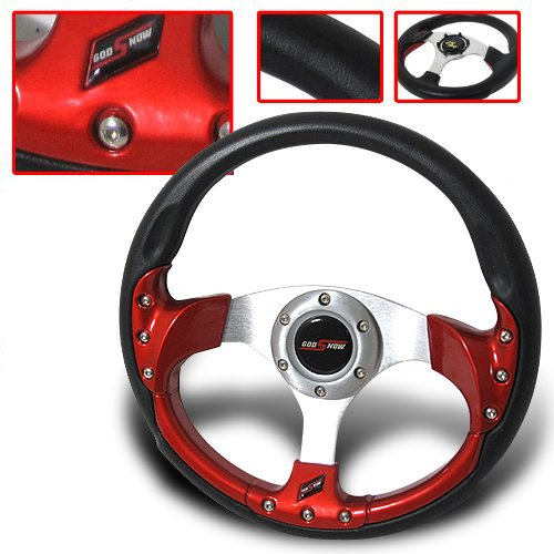 320mm Universal Chevy Truck 6-bolt Steering Wheel Pvc Leather Black + Horn Button (Chevy Truck Steering Wheel)