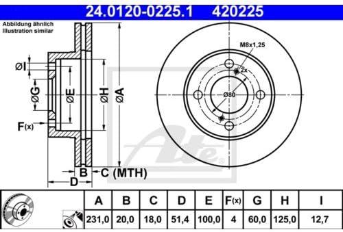 2x ATE BREMSSCHEIBEN /Ø231 mm SET VORNE