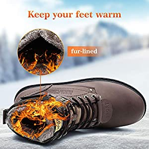 gracosy Mens Ankle Boots Winter Snow Warm Boots Fur Lined Lace Up Comfy Ankle Casual Boots Fashion Men Flat Martin Boots Outdoor Anti Slip High Top Work Boot Faux Fur Sneakers Footwear