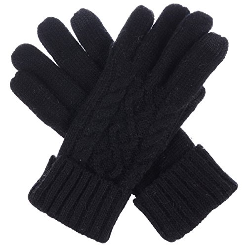 BYOS Women Winter Wool Blend Cable & Leafy Pattern Texting Knit Gloves w/Two Fingertips Conductive Tech for All Touch-Screen Devices Smartphone & Tablet (Black Cable)