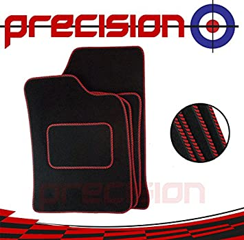 Renault Clio 2013-Present Fully Tailored Black Rubber Car Mats With Red Binding