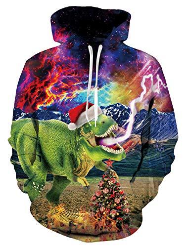 Belovecol Unisex Pullover Hoodies for College University Funny Christmas Dinosaur Garphic Halloween Hoody Sweatshirts Fleece Loog Sleeve X-Large -